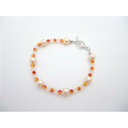 TB930  Peach Jewelery Genuine Swarovski Peach Pearls Silk Fire Opal Crystals Bracelet