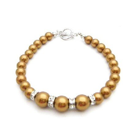 TB931 Wedding Gift Copper Pearls Stunning Bracelet Sparkling Diamond Silver Rondells Spacer