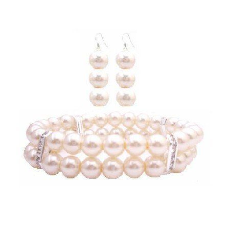 TB932  Ivory Pearls Double Stretchable Bracelet Bridemaides Bracelet & Earrings Set