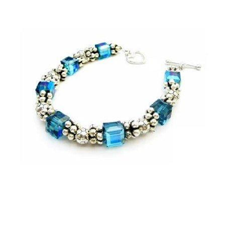 TB935  Sterling Silver Bracelet Swarovski Indicolite Bracelet Heart Toggle Clasp Bracelet