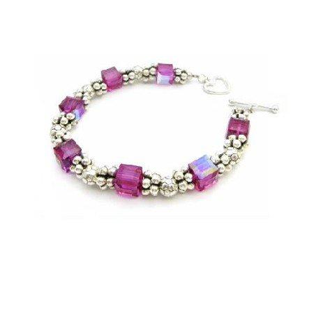 TB936 Prom Bridemaids Bracelet Fuschia Swarovski Crystals Bracelet Sterling Silver Clasp Bracelet