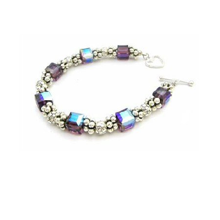 TB937 Bali Silver Bracelet With Sterling Silver 925 Clasp Made With Swarovski Amethyst Crystals