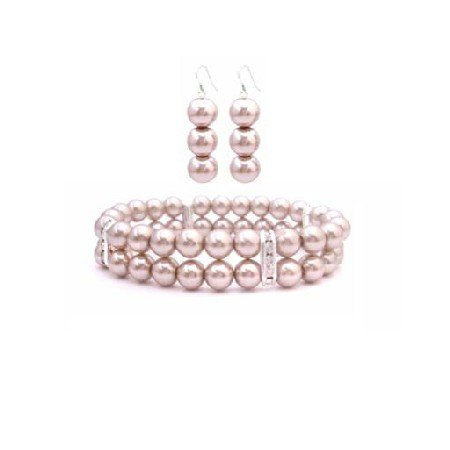 TB938 Champagne Pearls Double Stranded Bracelet W/ Silver Rondells & Matching Earrings Set