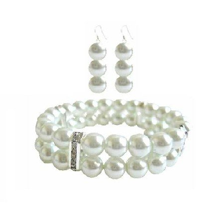 TB940 White Pearls Double Stranded Stretchable Bracelet w/Silver Diamond Spacer & Earrings