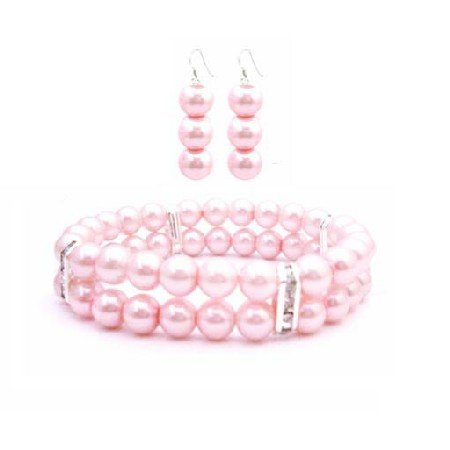 TB942  Bridemaids Gift Rose Pink Pearls Double Stranded Bracelet Earrings Set