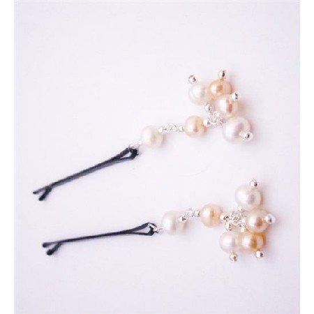 HA542  Handmade Customize Bridal Hair Pin Orange White Freshwater Pearls Bobby Hair Pin