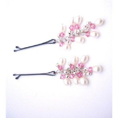 HA543 Handmade Bridal Hair Pin Genuine Freshwater Pearls & Rose Crystals Hair Pin