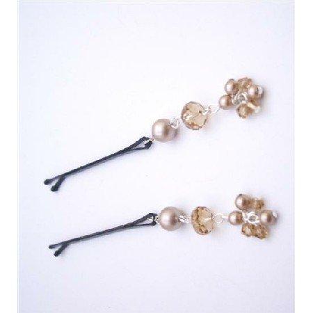 HA541  Powder Almond Pearls & Swarovski Crystals Bobby Pin Bridal Hair Pin