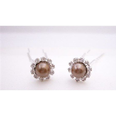 HA548  Cubic Zircon Wedding Hair Pin Wedding Bridal Hair Pin Brown Pearls Hair Pin