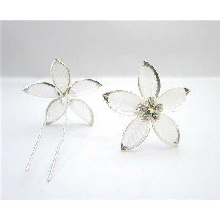 HA558  Wedding Prom Bridal Hair Jewelry Beautiful Net Flower Petal Pin