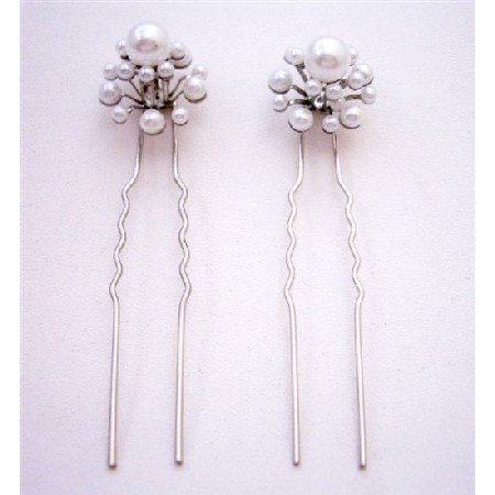 HA559  Prom Hair Accessories White Pearls Hair Pin For Wedding