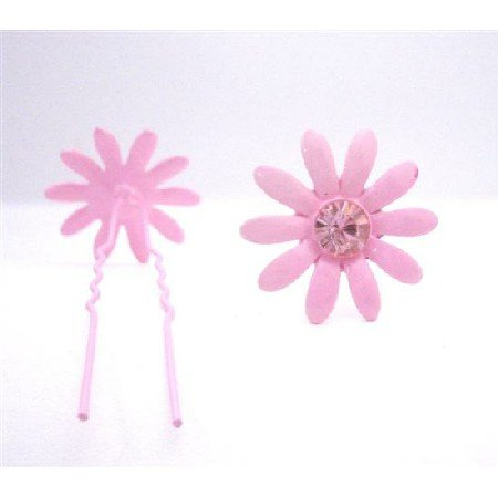 HA552  Girls Hair Pin Pink Flower With Rose Crystals Wedding Pin