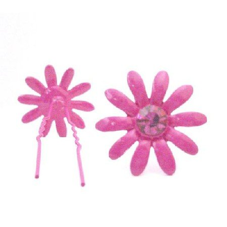 HA554  Fuschia Flower Hair Pin With Matching Crystals Jewelry Gift