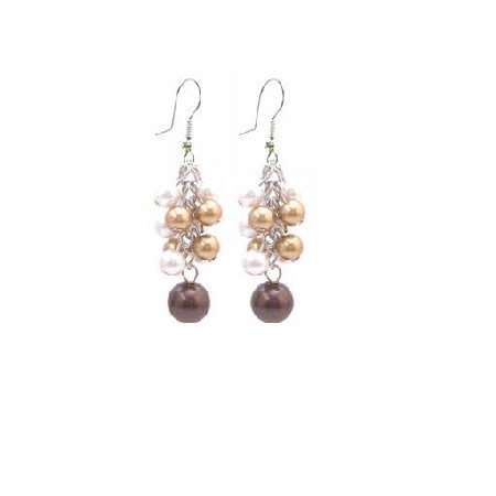 UER404  Multicolor Pearls Dangling Earrings Gorgeous Pearls Earrings