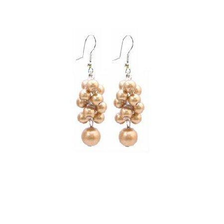 UER405 Bridemaids Wedding Jewelry Golden Grape Pearls Earrings