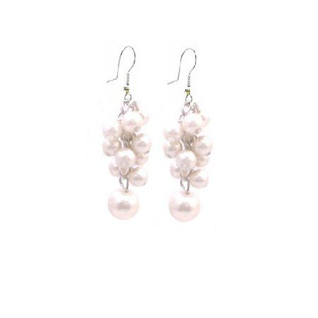 UER406  Bridemaids Earrings Ivory Pearls Prom Gift Affordable Jewelry