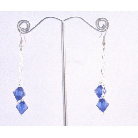 UER400  Sapphire Crystals Dangling Earrings String Stylish Earrings