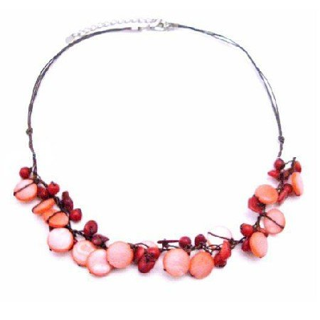 N828  Semi Precious Jewelry Coral Nugget & Mop Shell Handmade Necklace