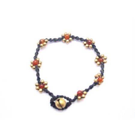 UBR220 Interwoven Cord Wax Golden Flower With Semi Precious Carnelian Stone Bracelet