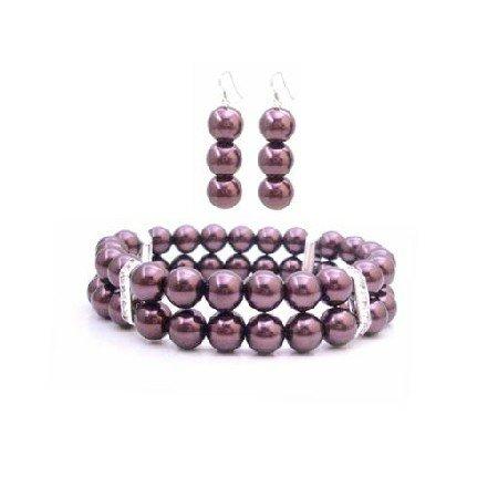 TB950 Burgundy Pearls Double Stranded Bracelet & Earrings Under Jewelry W/ Diamante Spacer