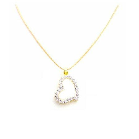 N840  Floating Heart Diamond Heart With Micron 18k Gold Chain Exclusively Beautiful