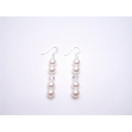 ERC596 Jewelry Austrian Crystals White Pearls & Clear w/Bali Silver Spacer Earrings
