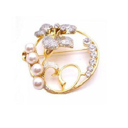 B420  Round Brooch Wedding Cake Brooch Gold Brooch W/ Flower & Diamante Stud & Pearls