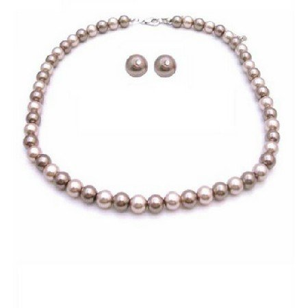 NS828  Bridemaids Latte Jewelry Necklace With Stud Earrings Latte Jewelry Bronze & Champagne