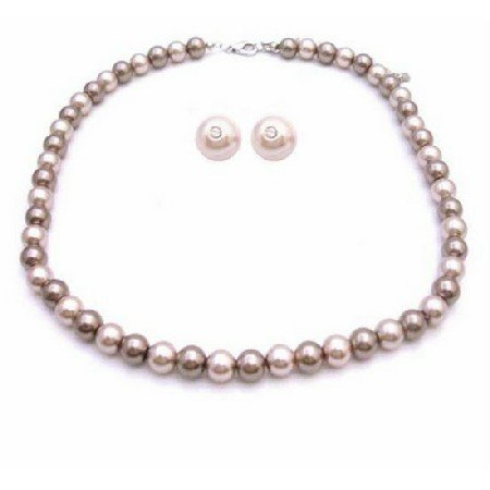 NS829  Bridemaids Latte Jewelry Necklace With Stud Earrings Latte Jewelry Bronze & Champagne
