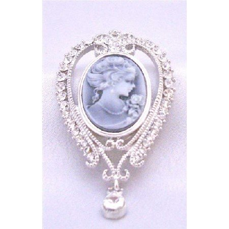 B348  Cameo Lady Brooch Victorian Vintage Lady Holding Flower Brooch Pendant