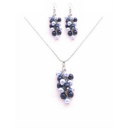 BRD034  Find The Best Jewelry Gifts for Bridesmaids Light Dark Blue Pearls Necklace Set