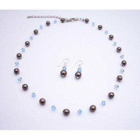 BRD050  Handmade Wedding Bridmaids Jewelry Brown Pearls & Aquamarine Crystals Bridesmaids Gifts