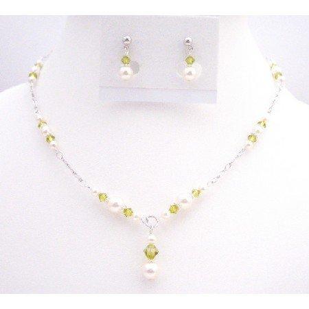 BRD078 New Arrival Lite Olivine Swarovski Crystals w/ White Pearls Handmade Necklace Set