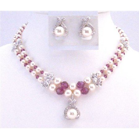 BRD021  Mother Of Groom Jewelry Double Stranded Necklace Swarovski Ivory Pearl