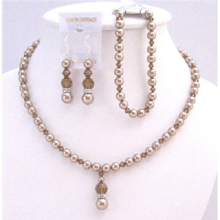 BRD024  Complete Set Bridal Wedding Bronze Pearls & Smoked Topaz Crystals Set
