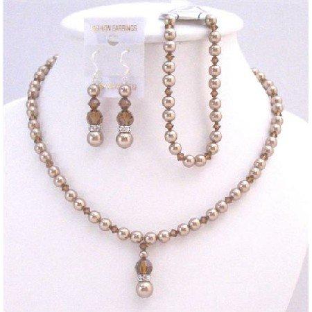 BRD024  Complete Set Bridal Wedding Bronze Pearls & Smoked Topaz Crystals Set