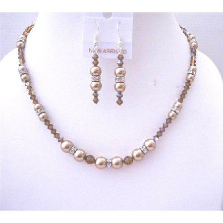 BRD494  Creative Prom Jewelry Bronze Pearls AB Smoked Topaz Crystals Necklace Set