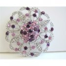 B003  Round Brooch Sparkling Amethyst Crystals Light & Dark Heart Crystals