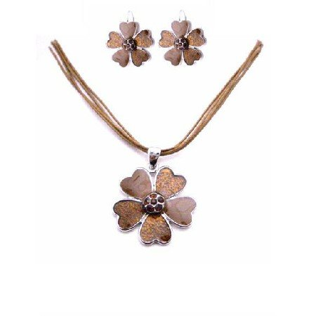 NS848  Vintage Ethnic Necklace Set Enamel Brown Flower & Smoked Topaz Crystals Jewelry