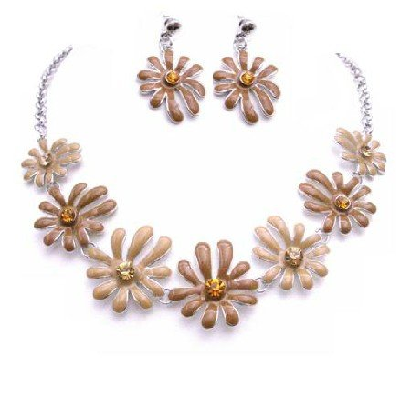 NS855  Unique Classic Stylish Jewelry In Latte Mocha Color Flower Jewelry