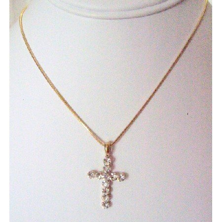 N888  Gold Chained Necklace With Cross Pendant Gift All Season