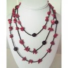 N895  Coral Nuggets Long Necklace With Black Beads 30 Inches Long Necklace
