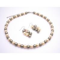 NS892  Find Your Cheap Wedding Jewelry Pistachu Pearls Combo W/ Daffodill Necklace Set