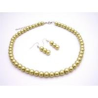 NS898  Shop Cheap Jewelry Inexpensive Wedding Pearls Pistachu Necklace Set