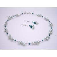 NS930  Mint Green Pearls Jewelry With Genuine Swarovski Green Palace Crystals Necklace Set