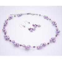 NS931  Wedding Flower Girl Jewelry Lilac Pearls & Amethyst Crystals Swarovski Crystals Necklace Set