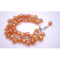 TB002  Bracelet Cluster Style AB Orange Beads Cluster Bracelet Soft Color