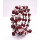 TB962  Handcrafted Stranded Bangle Coral Red Pearls And Bali Silver Spacer Bracelet