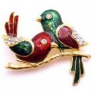 B519  Wedding Anniversary Cake Valentine Brooch Holiday Gift Twin Sweet Bird Brooch