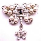 B515  Vintage Exquisite Pearls Brooch w/ Stud Cubic Zircon Decorated All Over Classy Brooch